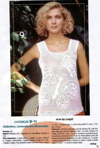 Blusa sin mangas de dama tejida con ganchillo con motivo de mariposa - con esquemas
