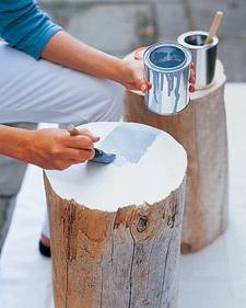 træstubbe til bord