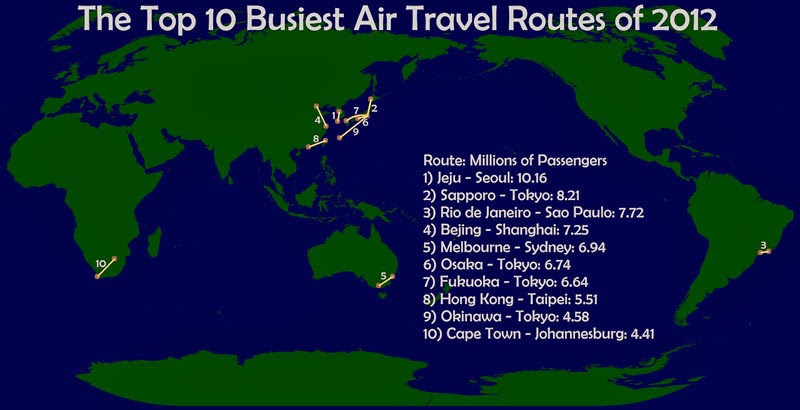 40 Maps That Will Help You Make Sense of the World - The World's Busiest Air Routes in 2012