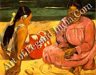 "The Great Artist Paul Gauguin Painting ""Two Tahitian Women on a Beach 1891"" 27 x 35 3/4 Musee d`Orsay, Paris"