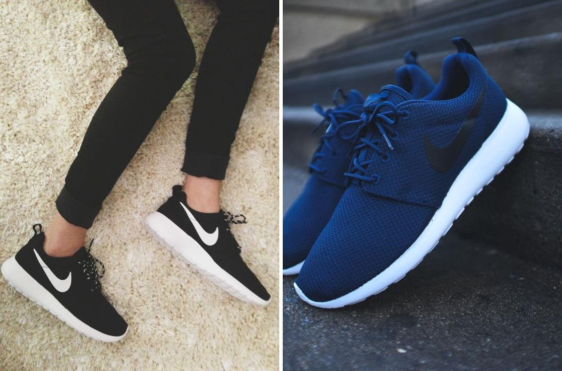 scarpe nike nere con baffo bianco