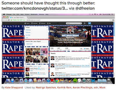 Twitter home page for candidate named Jason Rapert, with his name cut off many times so it looks like it says Rape