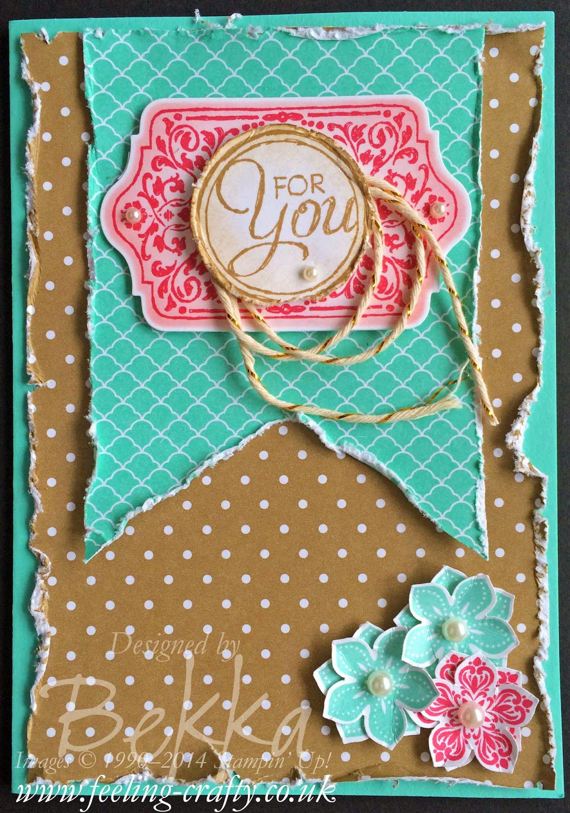 Just for you card made at a Stampin' Up! Party with UK Independent Demonstrator Bekka