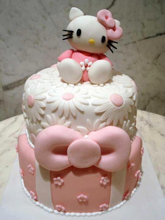 Cute Hello Kitty Birthday Cake with a Pink Ribbon - ツ Happy Birthday ...