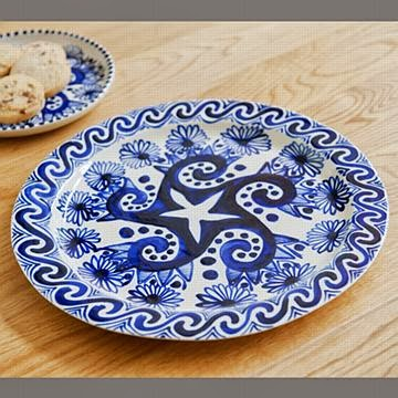 Blue hand painted ceramic plate by David Pantling