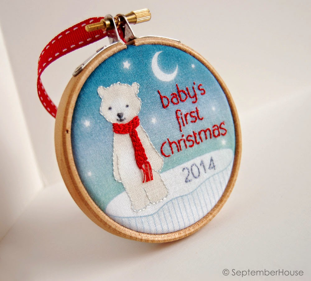 2014 Baby's First Christmas Ornament in Modern Polar Bear Design
