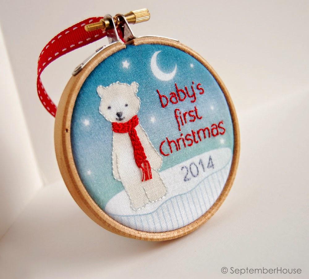 2014 Baby's First Christmas Ornament in Modern Polar Bear Design