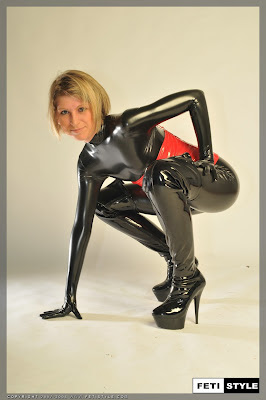 Shiny Latex Catsuit and Heels on this Hot Blonde