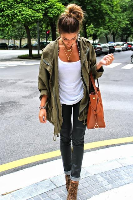 Long jacket, white blouse, shiny pants and cheetah skin high heels for fall