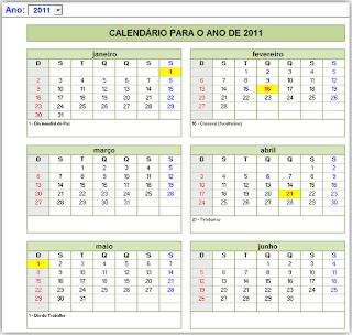 Calendário, Excel, 2013