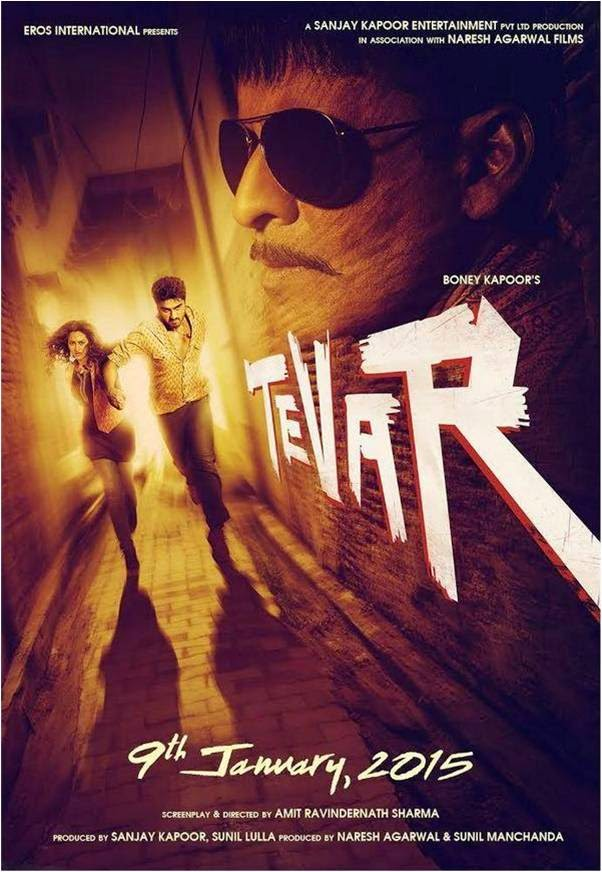 official poster of Manoj Bajpayee, Arjun Kapor and Sonakshi Sinha starer Bollywood movie Tevar