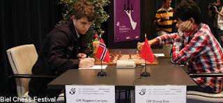Echecs ronde 7 : Wang Hao (2739) 0-1 Magnus Carlsen (2837) © site officiel