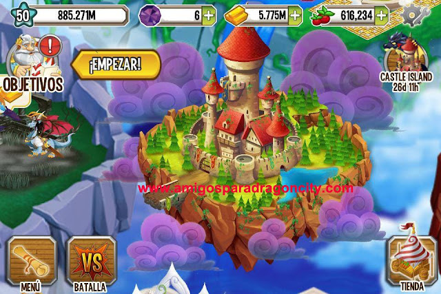 imagen de la isla del castillo de dragon city para iphone y ipad