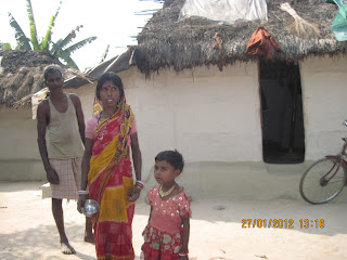 House of Atul Bauri who recently died allegedly of starvation. His daughter and other family members are in front of the house