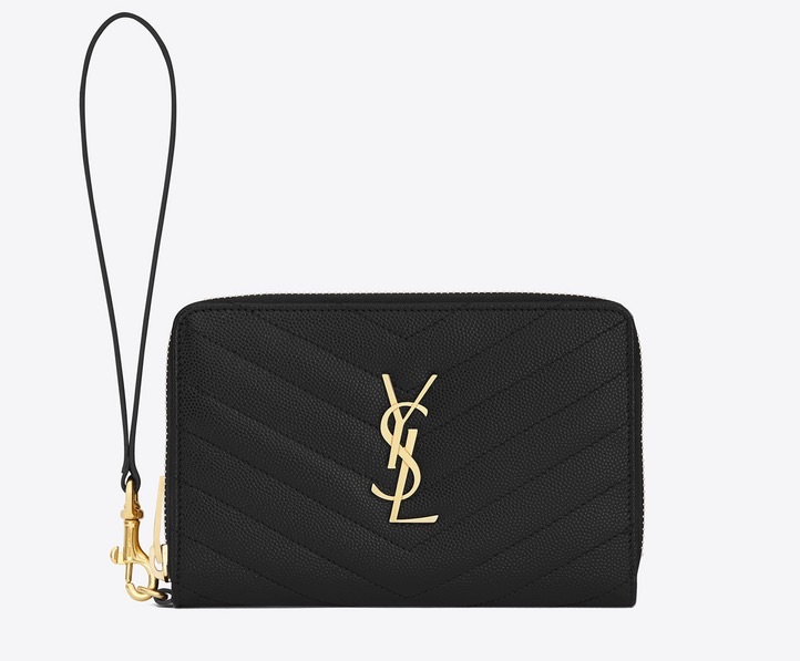 Yves Saint Laurent black and gold monogram phone wallet, ysl.com