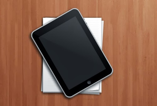 iPad and Paper Stack PSD