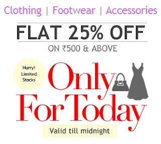 Enjoy Extra 25% OFF on Clothing | Footwear | Accessories @ HomeShop18 (Offer Valid till for Today Only)