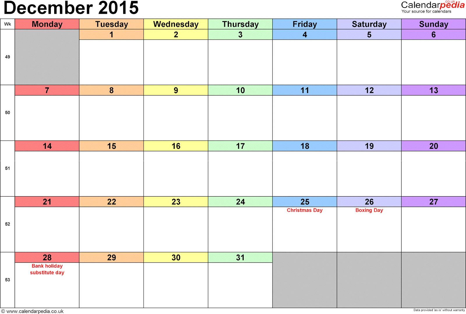 Calendar For December 2015, January 2016: December 2015 Calendar ...