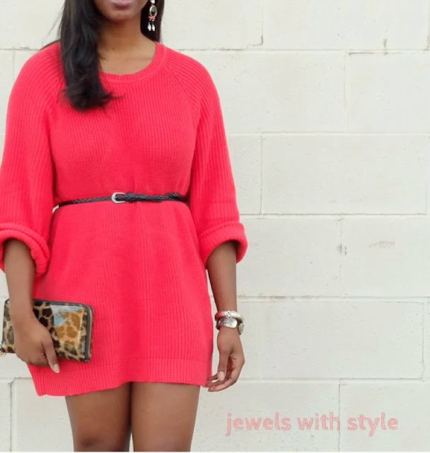 how to wear a sweater, must have sweaters, pink sweater, red sweater, oversized sweater, how to wear an oversized sweater, wear a sweater as a dress, sweater dress, rib knit sweater, jewels with style, black style blogger, columbus ohio blogger