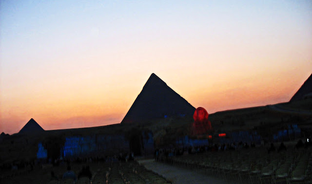 pyramids aglow at night