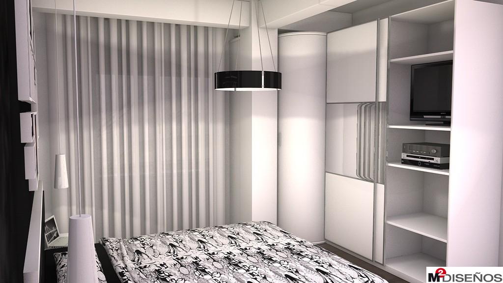 Proyecto 3d de dormitorio matrimonio mueble blanco pared negra m dise os - Mi armario de la tele ...