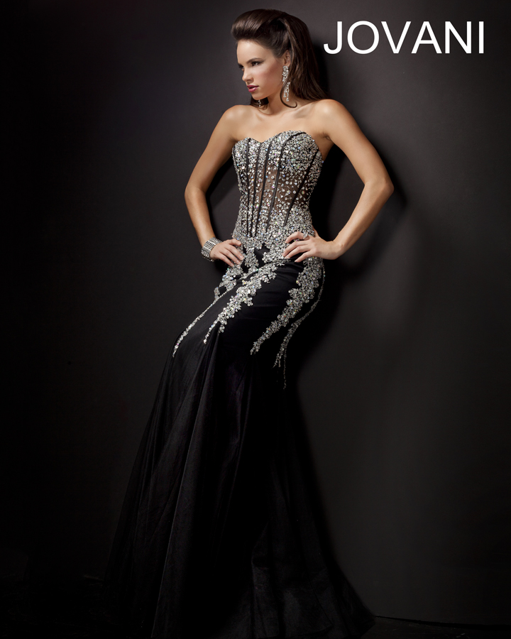 Jovani Prom Dresses 2013 long black mermaid sequins crystal