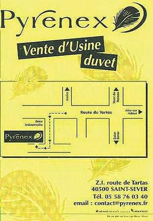 Vente d'usine à Saint Sever dans les Landes : les duvets Pyrenex