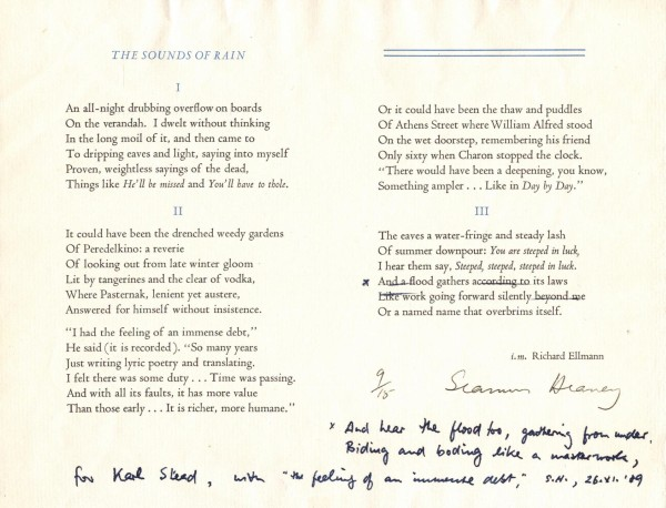 Broadsheet of Seamus Heaney's 'The Sounds of Rain', with annotations by the author.