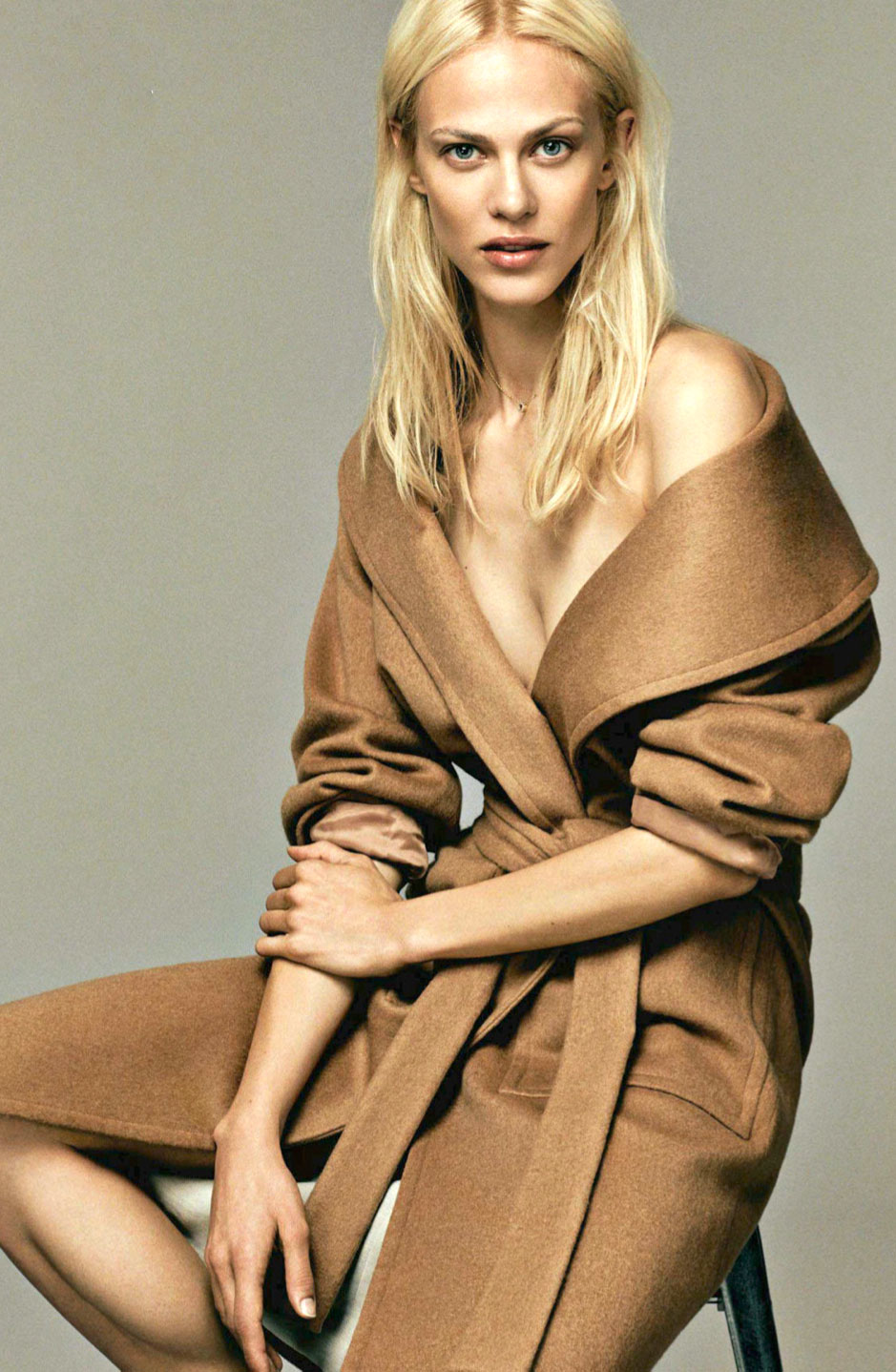 Aymeline Valade wearing Mango camel coat in S Moda August 2014 (photography: Damon Baker, styling: Francesca Rinciari)