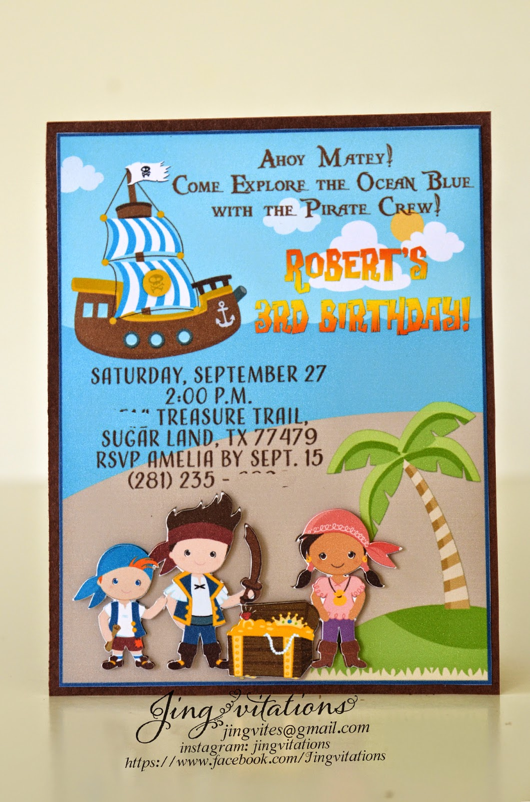 Jake the neverland pirates invitations