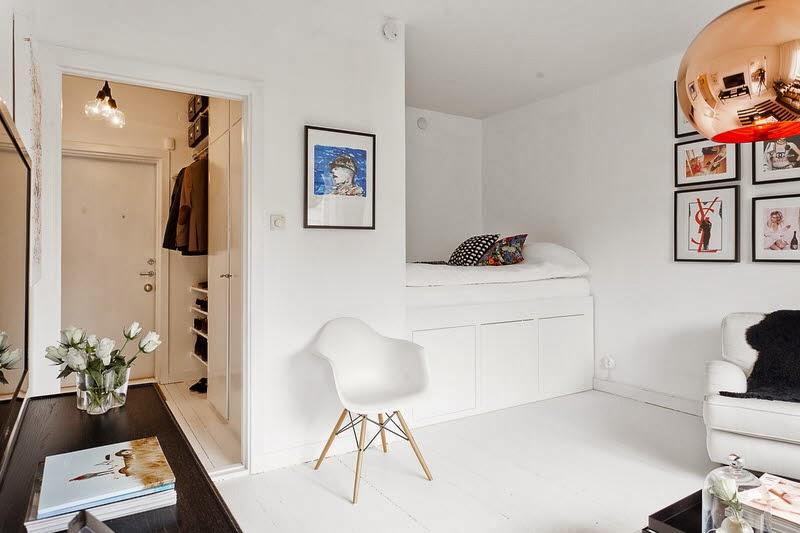 35m2 mieszkanie typu studio z dominuj c biel for Decoration studio 35m2