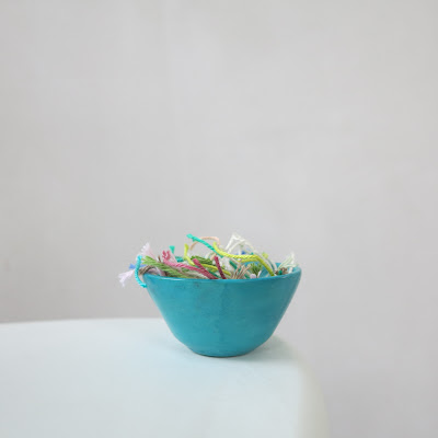 crochet, loose ends, blue bowl, vegan yarn