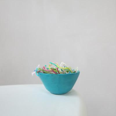 crochet, loose ends, blue bowl, vegan yarn