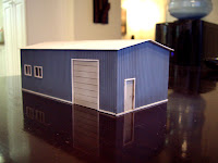 Scratch built styrene garage – rear view