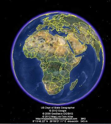 El Mundo, google earth, vista diurna, Africa