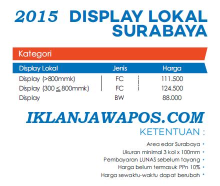 Pasang Iklan Jawa Pos Display Paket Display Lokal Surabaya 2015