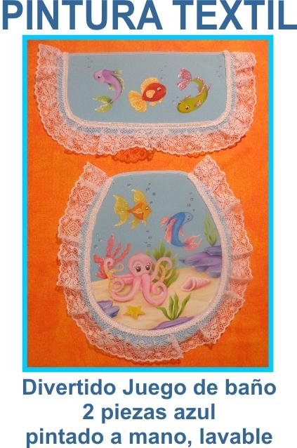 Juego De Baño Ferrum Azul:Pintura textil-juegos de baño-caminos de mesa
