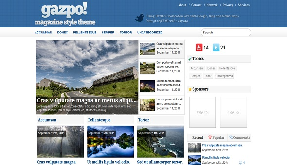 Gazpo Free WordPress Theme 16 Best 2012 Free WordPress Themes