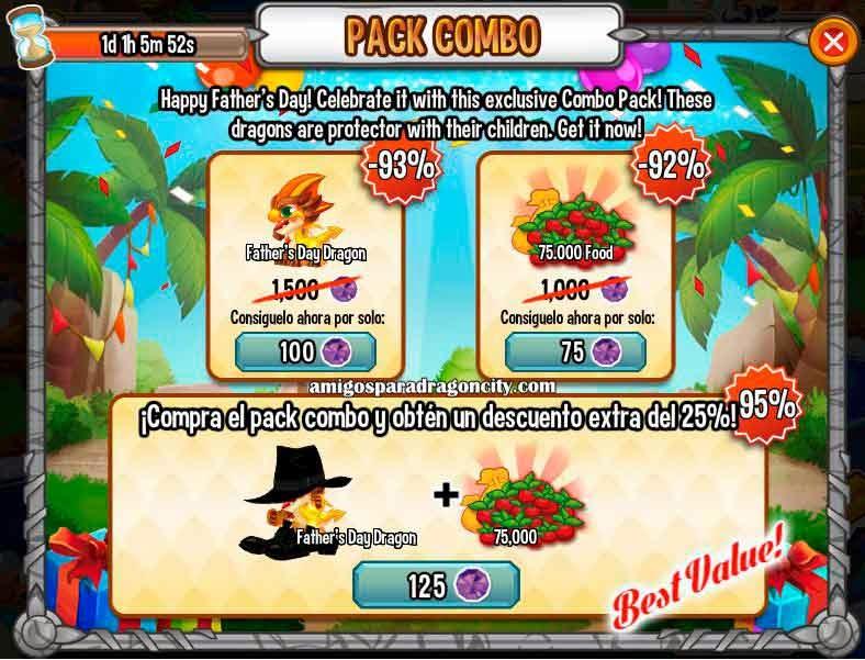 imagen de la oferta especial del dragon dia del padre de dragon city