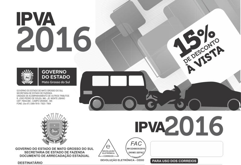 IPVA 2016: Detran recebe primeira parcela até 18h da próxima sexta-feira