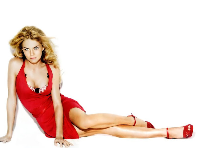 Model Jennifer Morrison sexy in red dress fashion