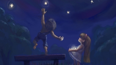 Good Wallpaper Night Love - r169_457x256_3604_Stars_From_The_Night_Sky_2d_illustration_children_fantasy_love_picture_image_digital_art  Image-208260.jpg