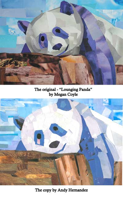 Lounging Panda by collage artist Megan Coyle