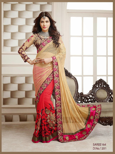 Designer Wedding Embroidered Lace Work Saree