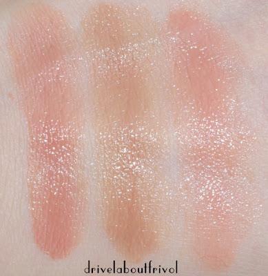 Suqqu Creamy Glow Moist lipstick swatch 01 Haruoto // 02 Kurumiiro // EX-04 Tousakura