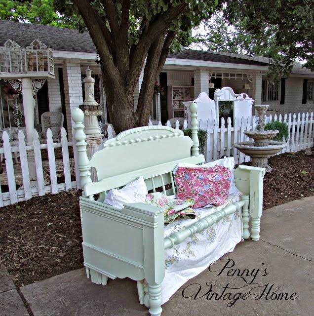 garden bench repurposed