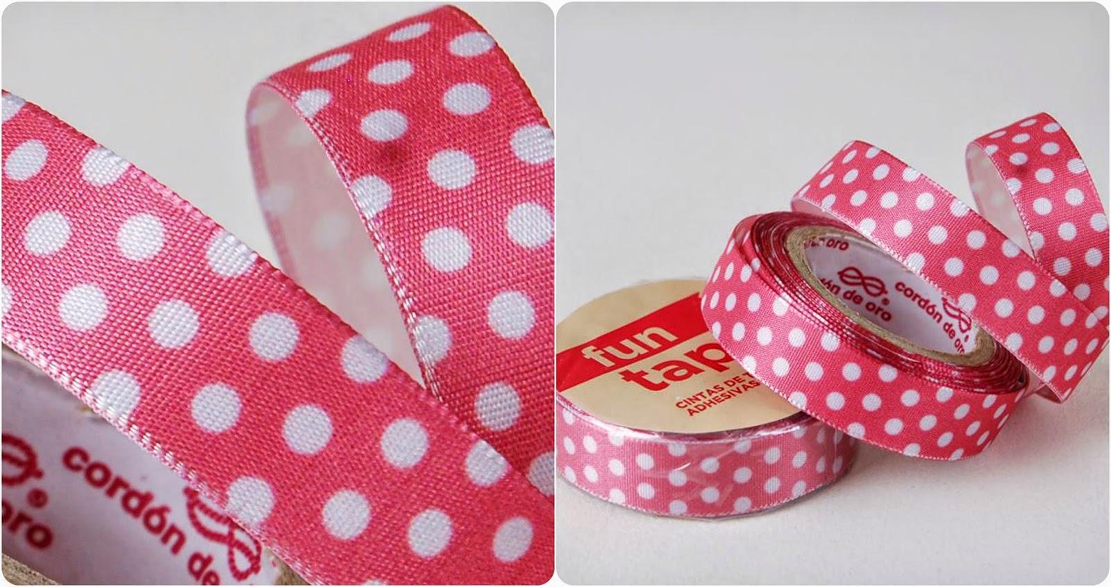 fun tape cintas adhesivas de tela polka dots rosa
