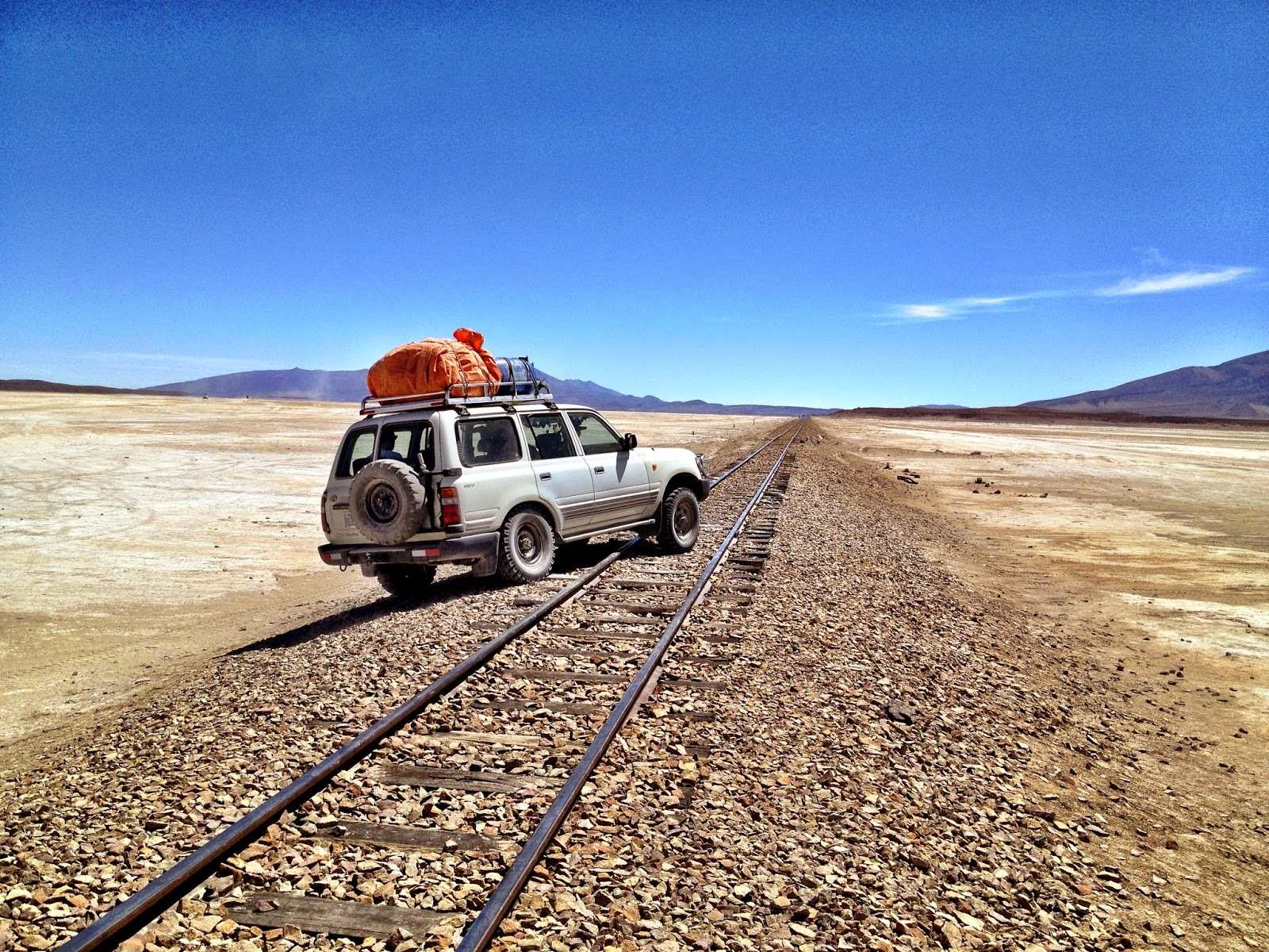 Crossing a train track in the Uyuni desert
