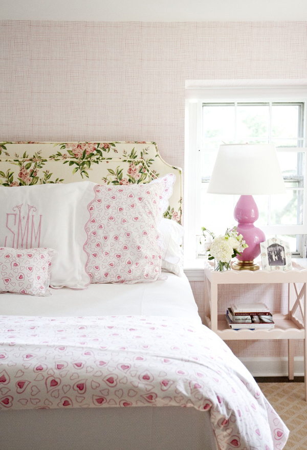 Fancy statement headboard whimsical sheets monogrammed pillow cases pink lamps lady perfection