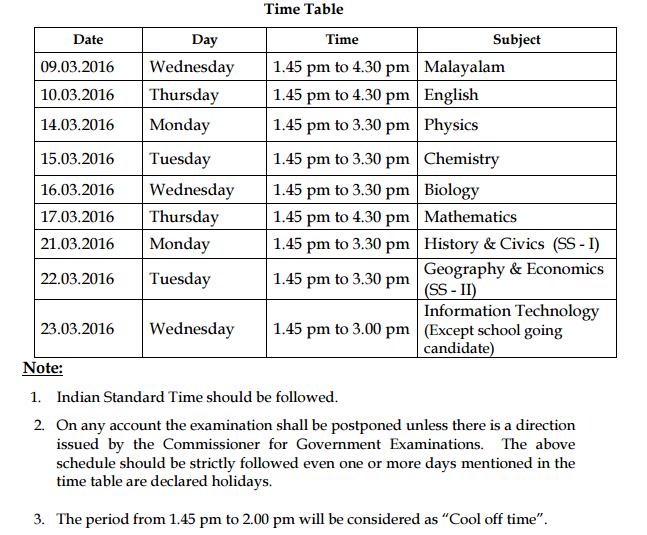 Kerala sslc 10th class examination time table 2016 ednewz for 10th time table 2016